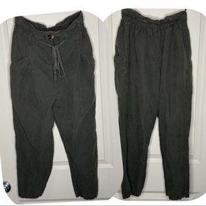 Zara dark green paper bag pants